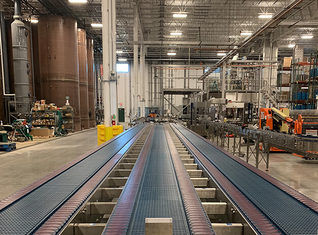 conveyor belts inside packaging facility